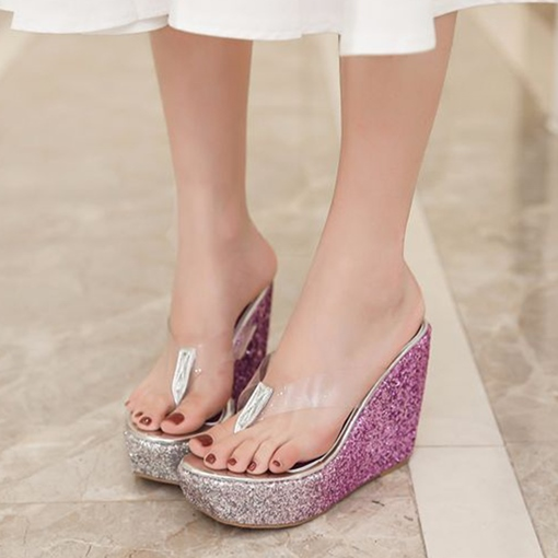 Gradient Sequins Women's Thong Clear Jelly Wedge Heel Slides