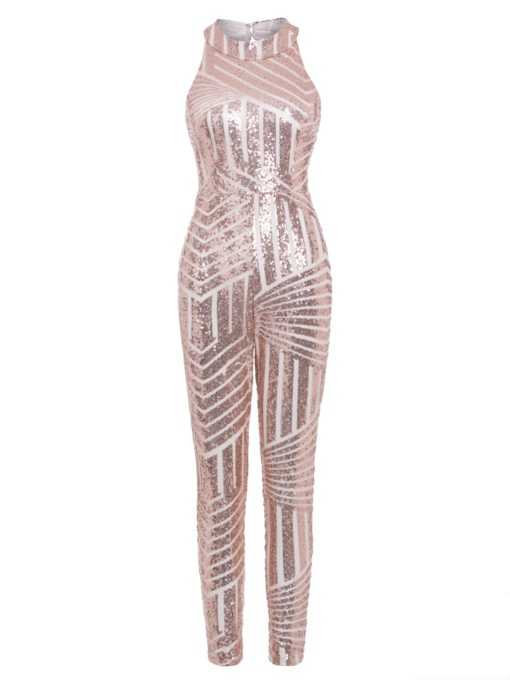 Sequins Backless Skinny Full Length Women's Jumpsuit