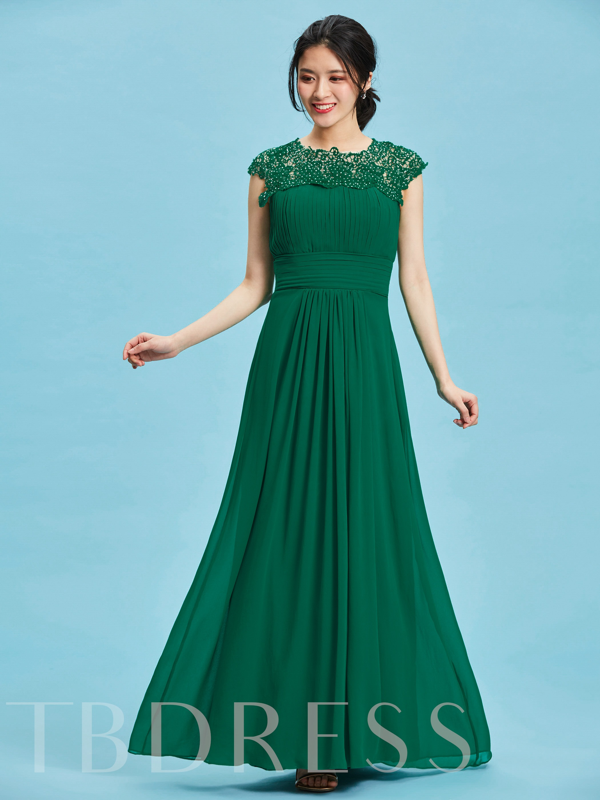 Image of A-Line Round Appliques Pleats Floor-Length Evening Dress