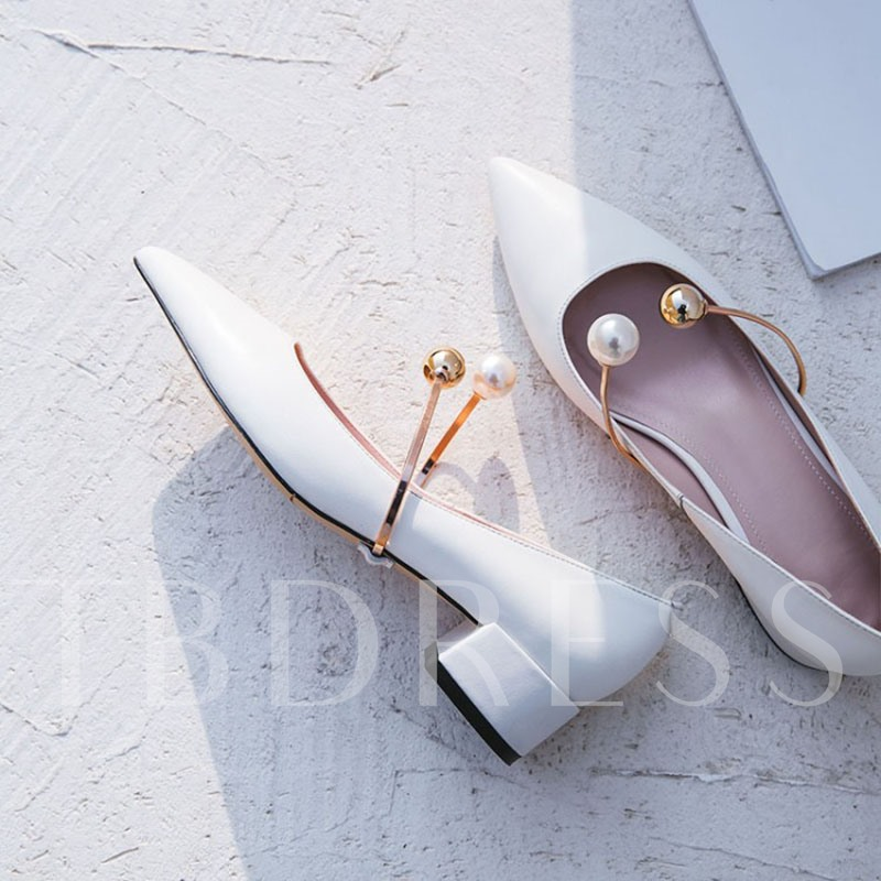 Chunky Heel Pearl Women's Prom Shoes