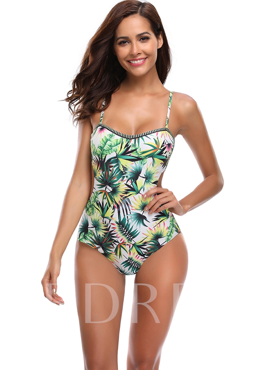 Floral Printed Strap Backless Women's One-Piece Swimsuit