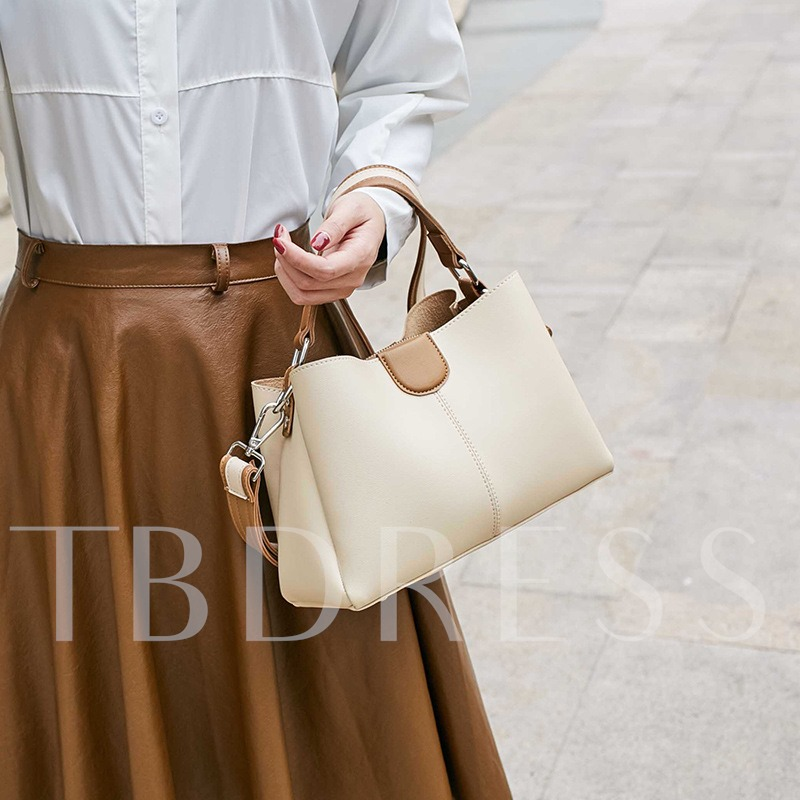 Korean Style Color Block Women Tote Bag