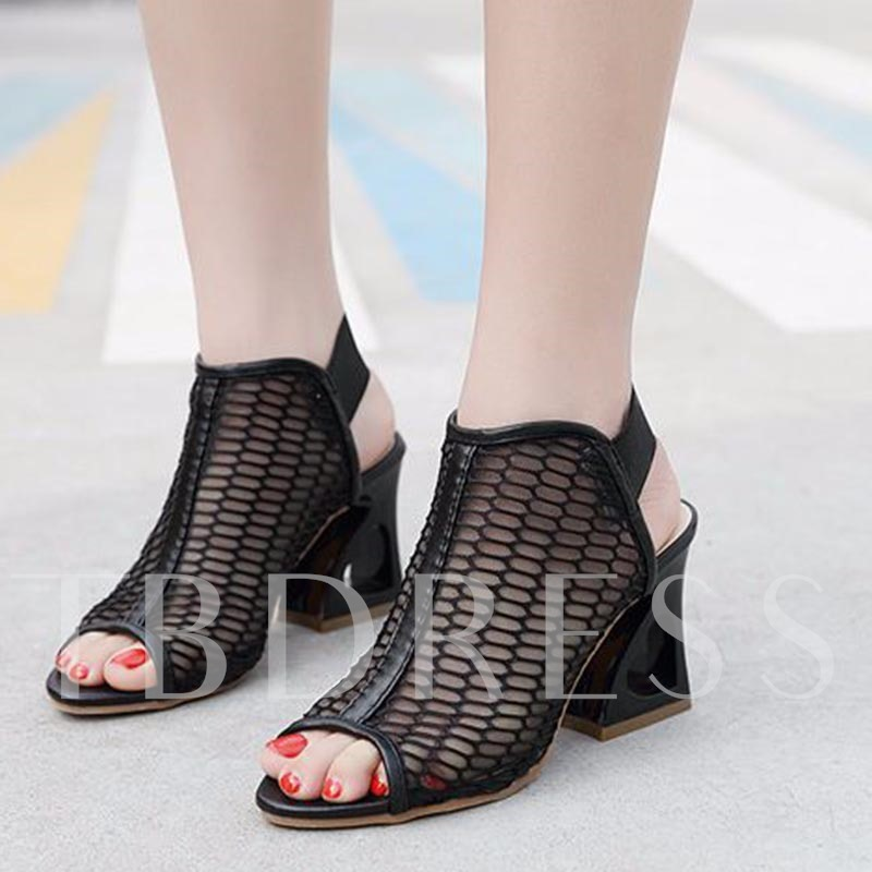 Hollow Out Heel Mesh Peep Toe Women's Sandals