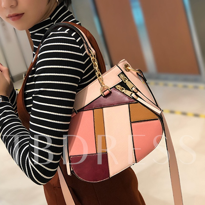Trendy Geometric Patchwork Block Women Tote Bag