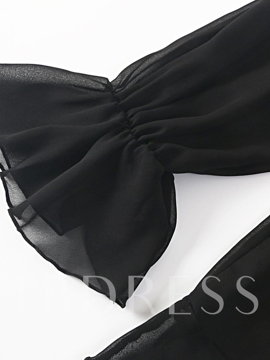 Black Chiffon Falbala Off Shoulder Women's Cover-Up