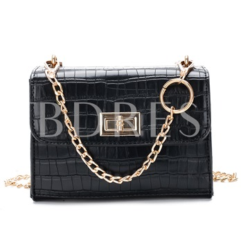 Croco-Embossed Solid Color Mini Cross Body Bag
