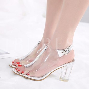 Chunky Heel Peep Toe Clear Jelly Shoes for Women