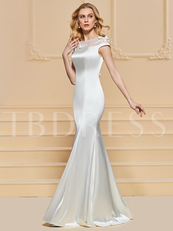 Sheath Flowers Bateau Appliques Evening Dress