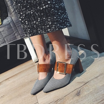 Dual-use Shoes Chunky Heel Pointed Toe Pumps