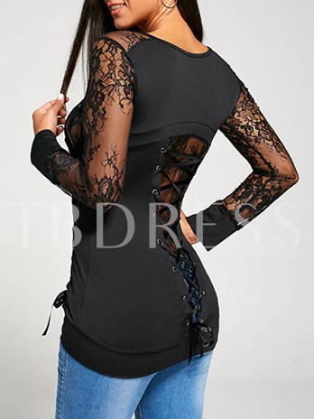 Mid Length Hollow Sexy Lace Women's T-Shirt
