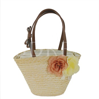Fashion Floral Decoration Women Straw Shoulder Bag