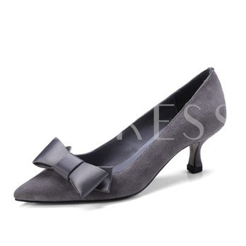 High Heel Suede Bow Women's Sweet Prom Shoes