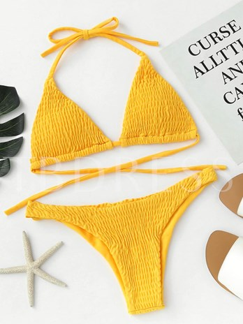 Lace-Up Plain Pleated Bikini Set