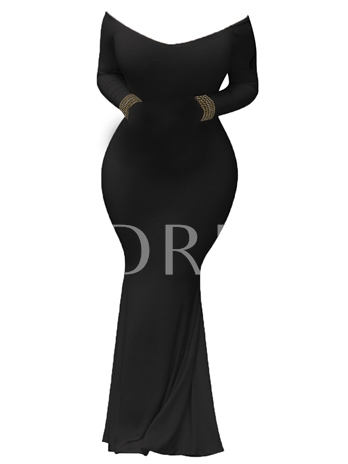 Off shoulder Neck With Long Sleeve Women's Bodycon Dress