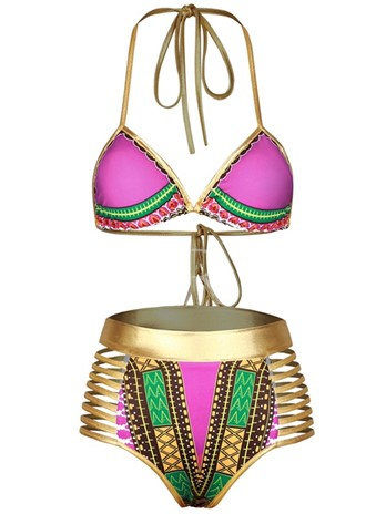 Africa Dashiki Gold Halter Hollow Women's Bikini Set