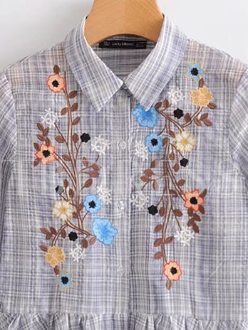 Floral Embroidery Peplum Plaid Women's Blouse