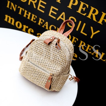 Casual Knitted Straw Mini Backpack