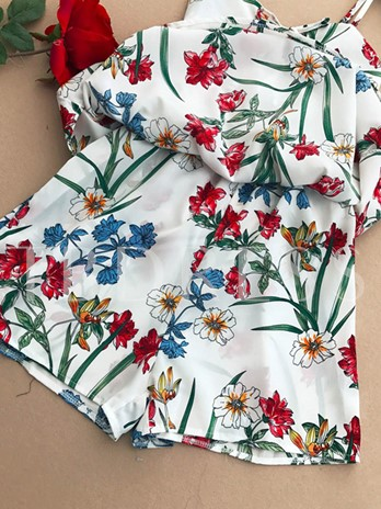 Lace-Up Floral Print Women's Cami Rompers