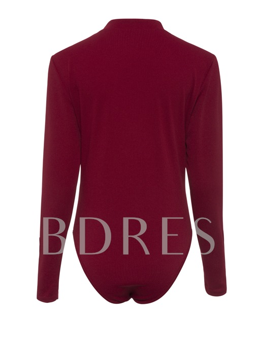 Fall Long Sleeves Pure Color Button Women's Romper