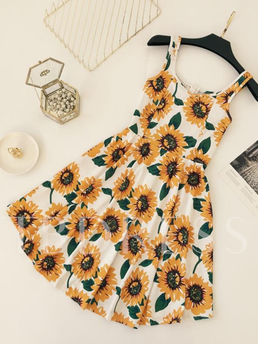 Spaghetti Strap Sunflower Print Women's A Line Dress
