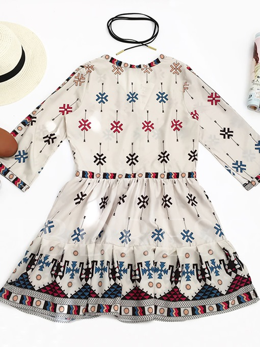 Bohemian Print Lace-Up Women's Day Dress