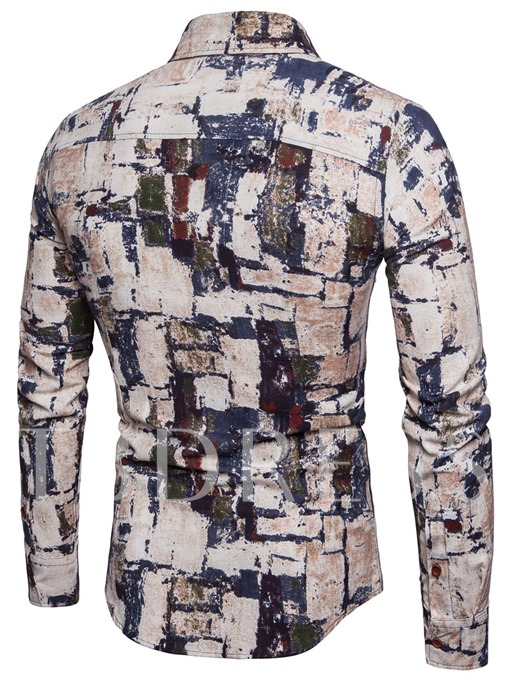 Lapel Patchwork Slim Cotton Men's Leisure Shirt