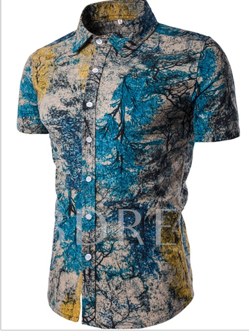 Lapel Floral Print Summer Men's Leisure Suit