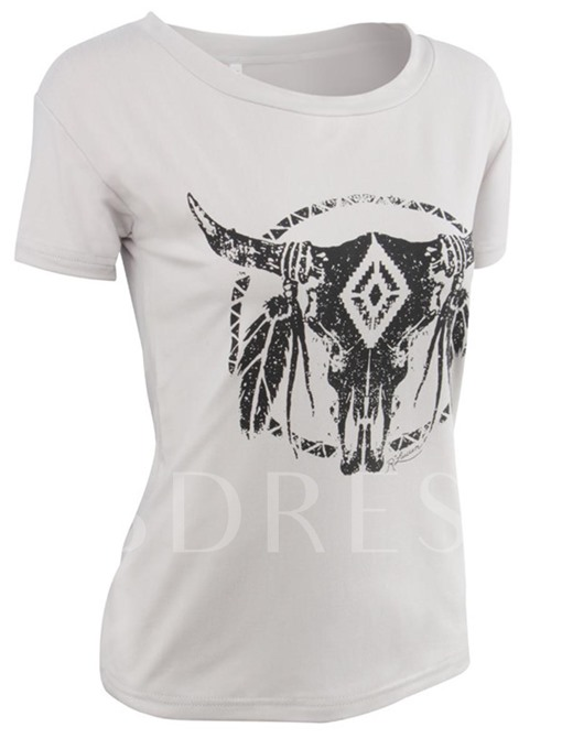 Plain Cattle Horn Print Women's Tee Shirt