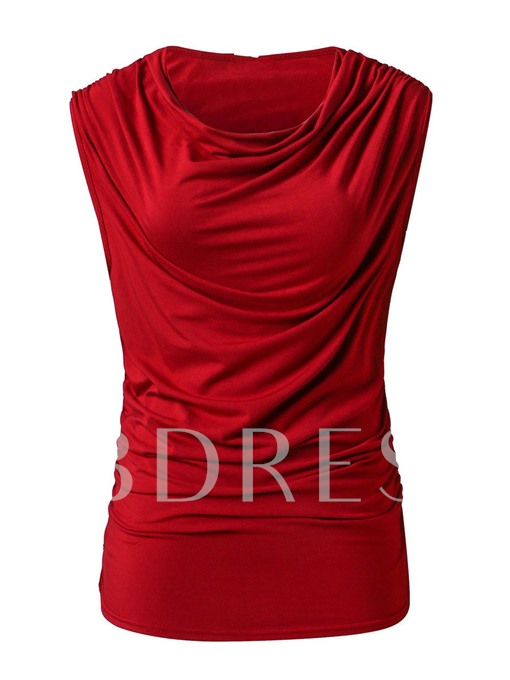 Sleeveless Round Neck Slim Fit Women's T-Shirt