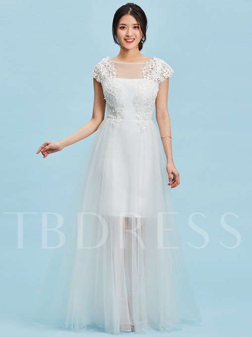 Scoop Lace Appliques A Line Wedding Dress
