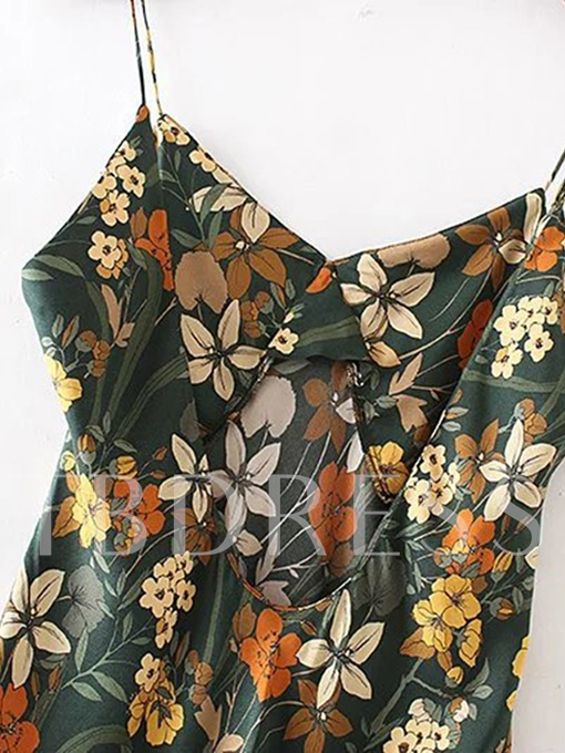 Floral Print Slip Back Open Women's Party Dress