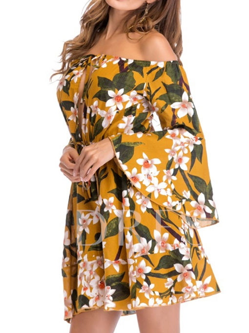 Bell Sleeve Off Shoulder Floral Women's Day Dress