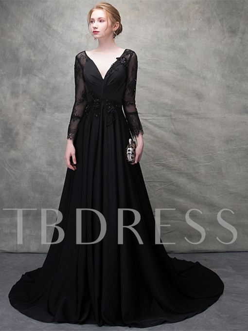 A-Line V-Neck Lace Beading Evening Dress