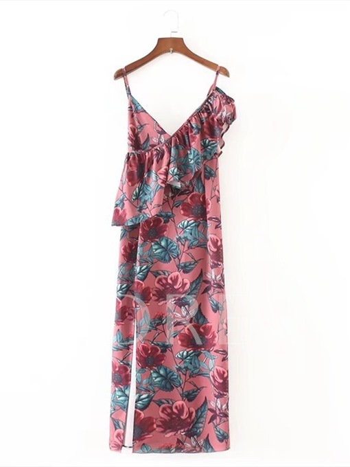 Ankle-Length Floral Printing Women's Day Dress