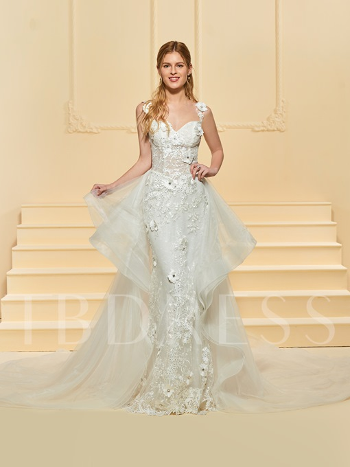 Beaded Appliques Wedding Dress with Watteau Train