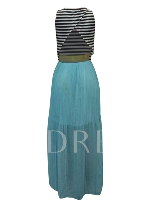 Round-neck Stripe Top With Chiffon Bottom Women's Maxi Dress