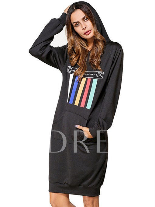 Black Striped Pocket Women's Hooded Dress