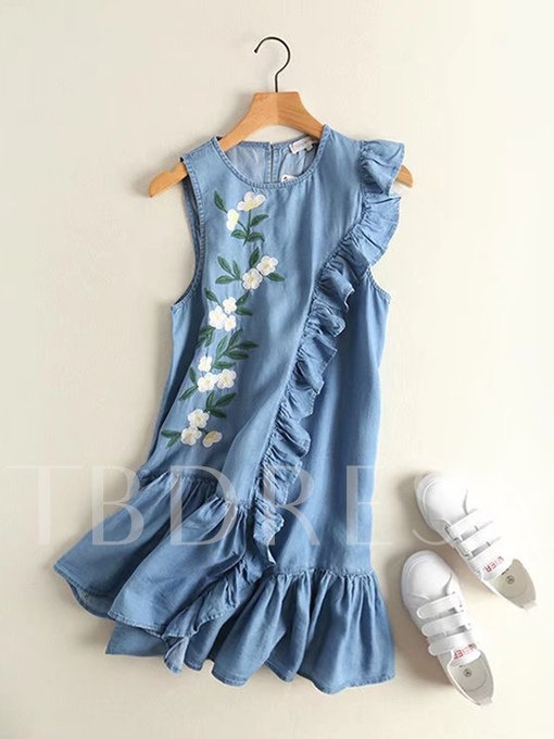 Embroidery Floral Sleevelss Women's Short Day Dress