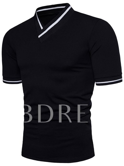 V-Neck Color Block Slim Men's Shirt