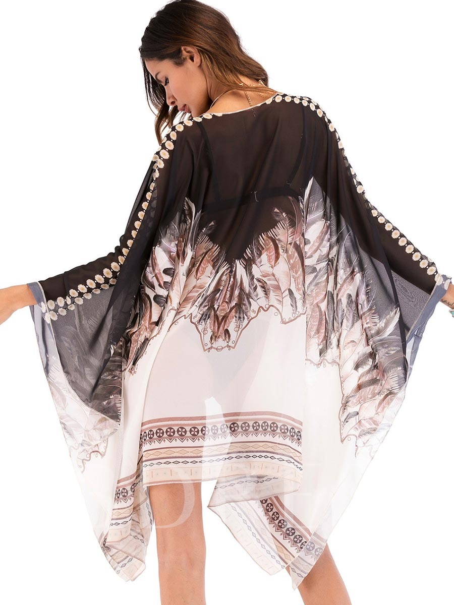 Bohemian Ethnic Floral Chiffon Women's Cover-Up
