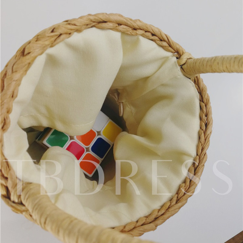 Bucket Shape Knitted Straw Bag