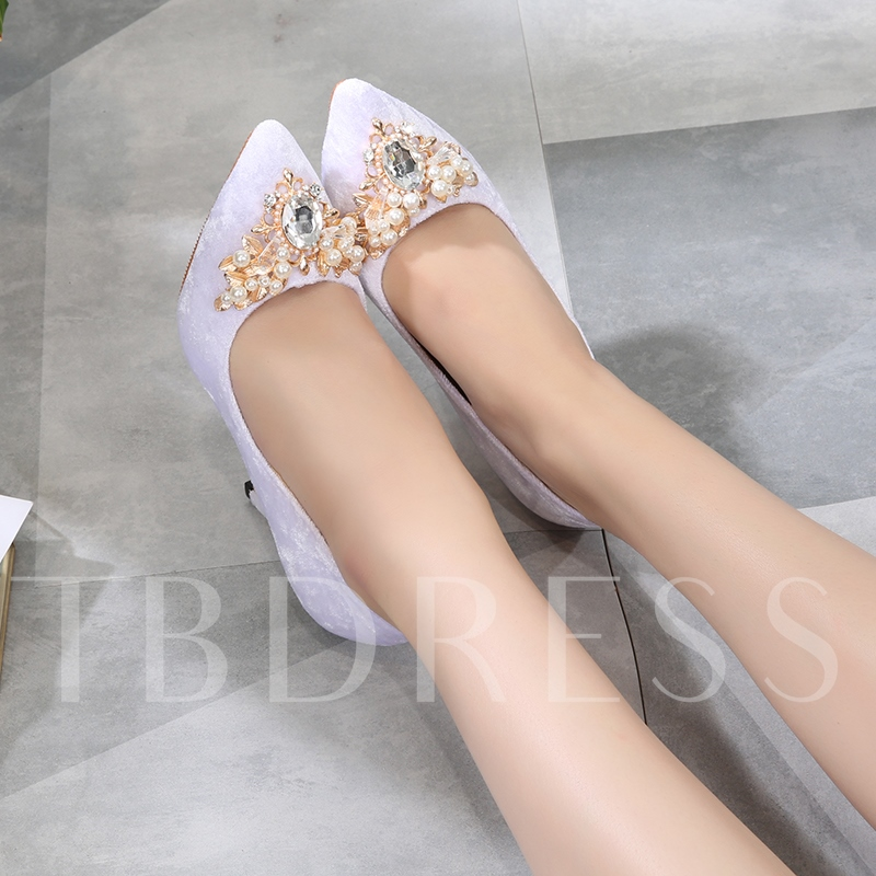 Plain Suede Pearl Rhinestone Wedding Shoes for Bridal