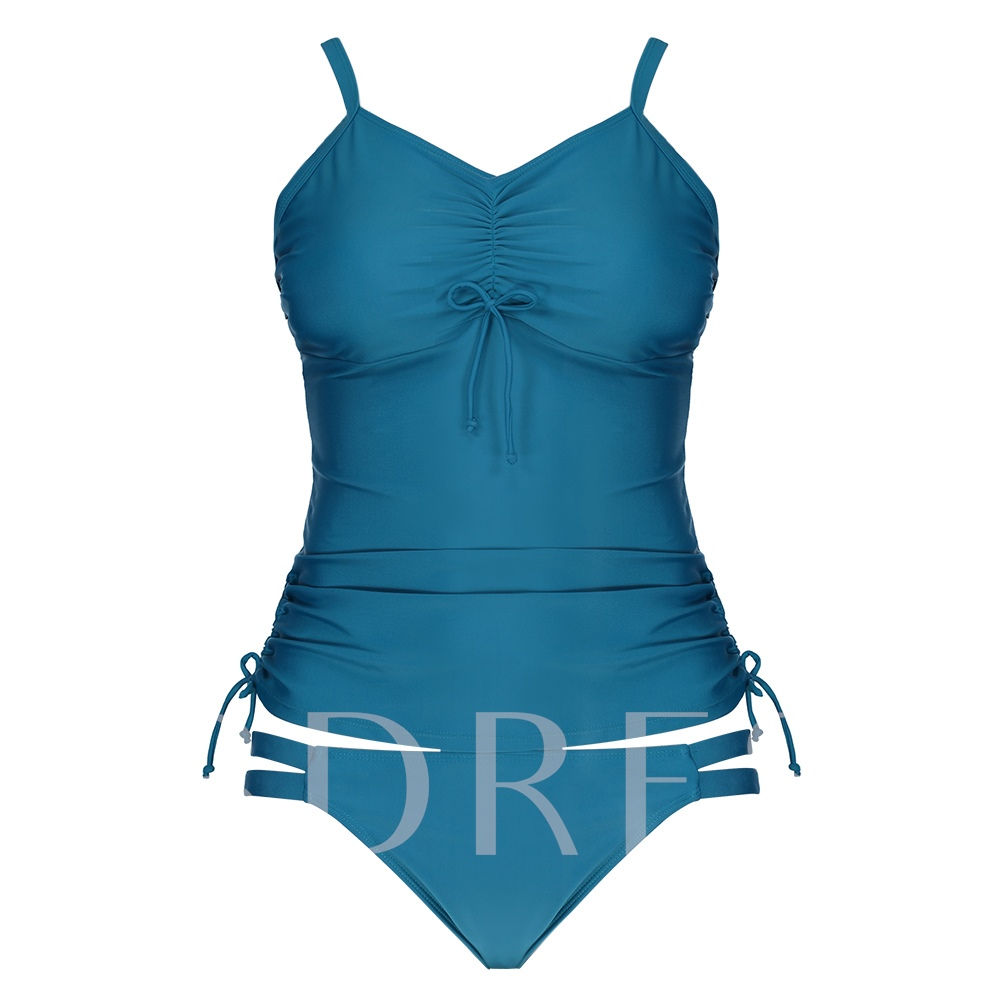 Plain Pleated Bowknot Tankini Set