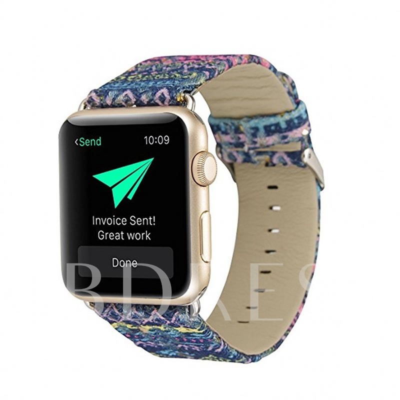 Artificial Leather Apple Watch Band with Embossed Floral Pattern 38mm/42mm