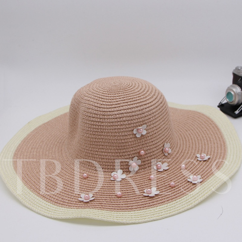 Imitation Pearl Flower Straw Hat