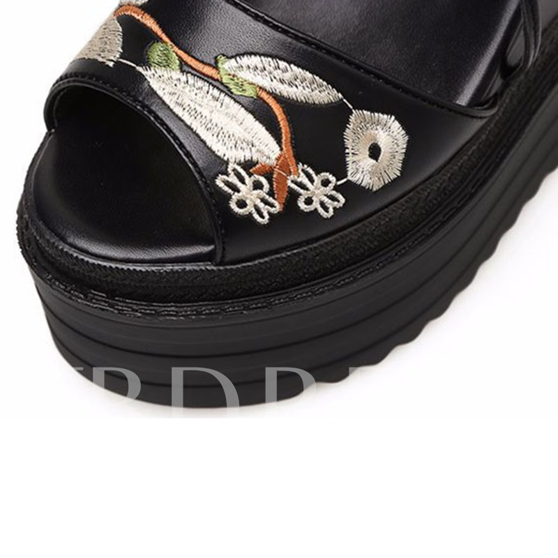 Embroidery Plant Back Zipper Black Wedge Sandals