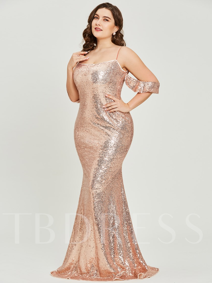 Spaghetti Straps Sequins A-Line Plus Size Prom Dress ...