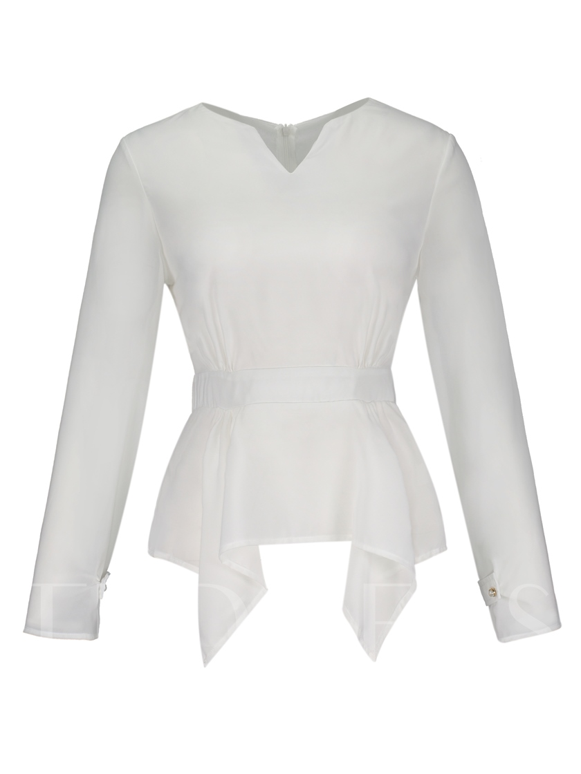Plain Slim Asymmetric V-Neck Women's Blouse