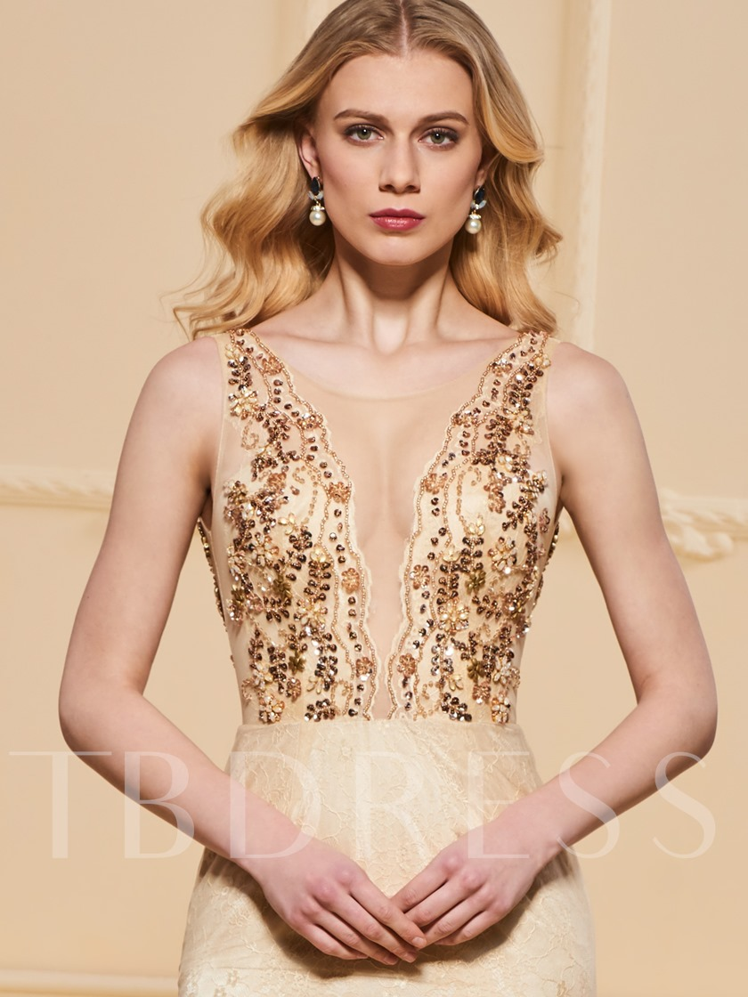Beading Lace Scoop Trumpet Evening Dress
