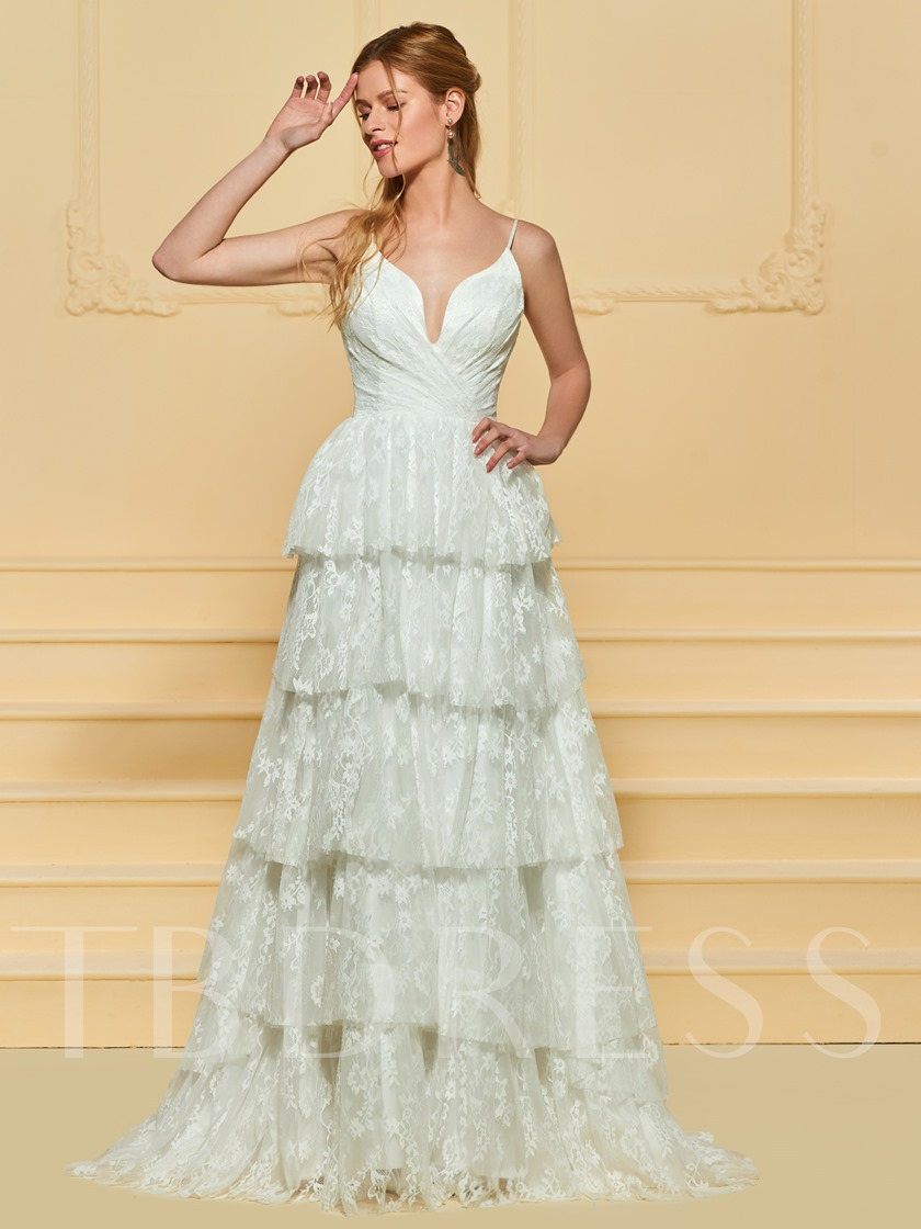 Spaghetti Straps Tiered Lace Beach Wedding Dress Tbdress
